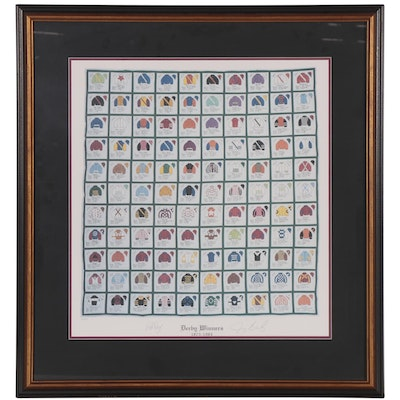 """Pat Day and Jerry Bailey Signed """"Derby Winners 1875 - 1984"""" Silks Print"""