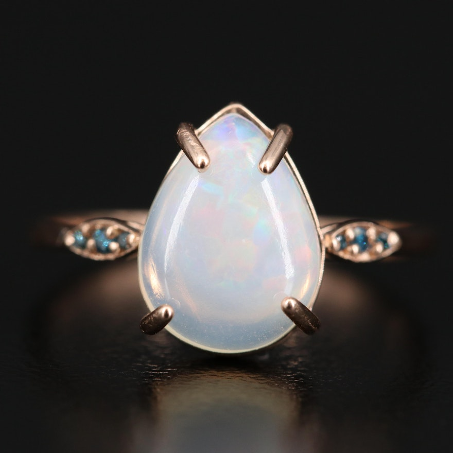 14K Opal and Diamond Teardrop Ring