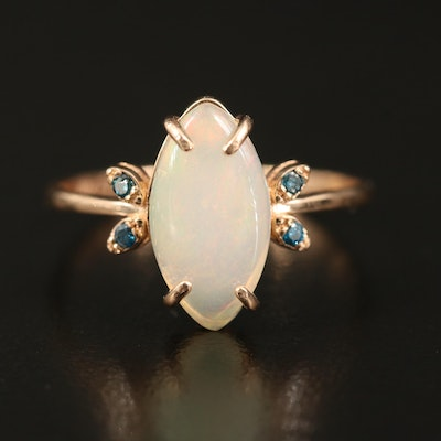 14K Opal and Diamond Marquise Ring
