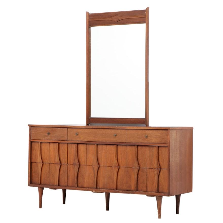 Mid Century Modern Walnut Nine-Drawer Dresser