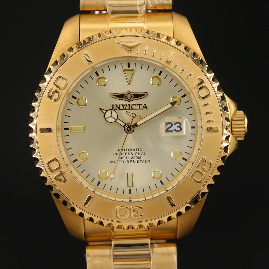 Invicta Pro Diver Gold Tone Stainless Steel Automatic Wristwatch
