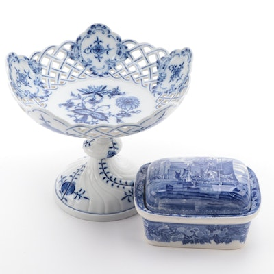 Meissen Blue Onion Porcelain Compote and Wedgwood Box, Late 19th/ Early 20th C