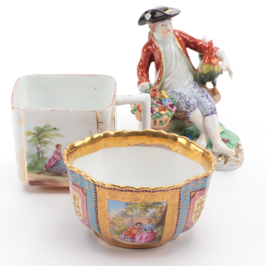 Dresden Porcelain Figurine and Hand-Painted Royal Vienna Style Cups