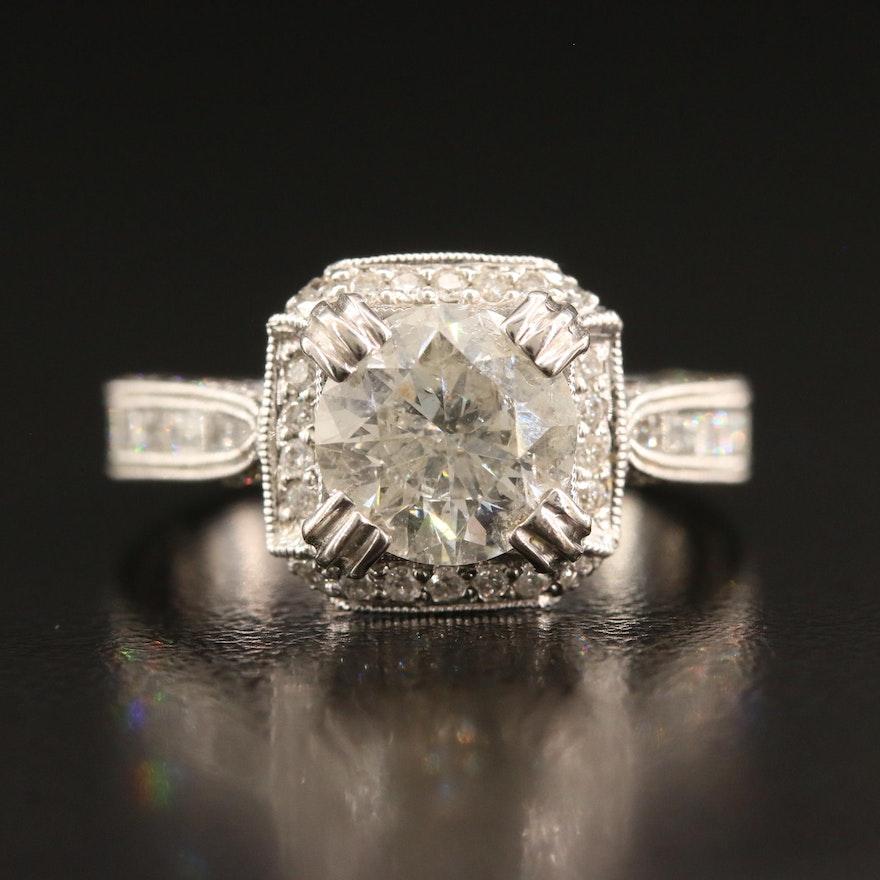 18K 3.53 CTW Diamond Ring with Milgrain Detailing