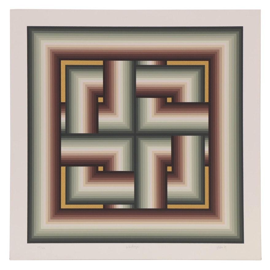 """Jurgen Peters Op Art Serigraph """"Interchange,"""" 1980"""