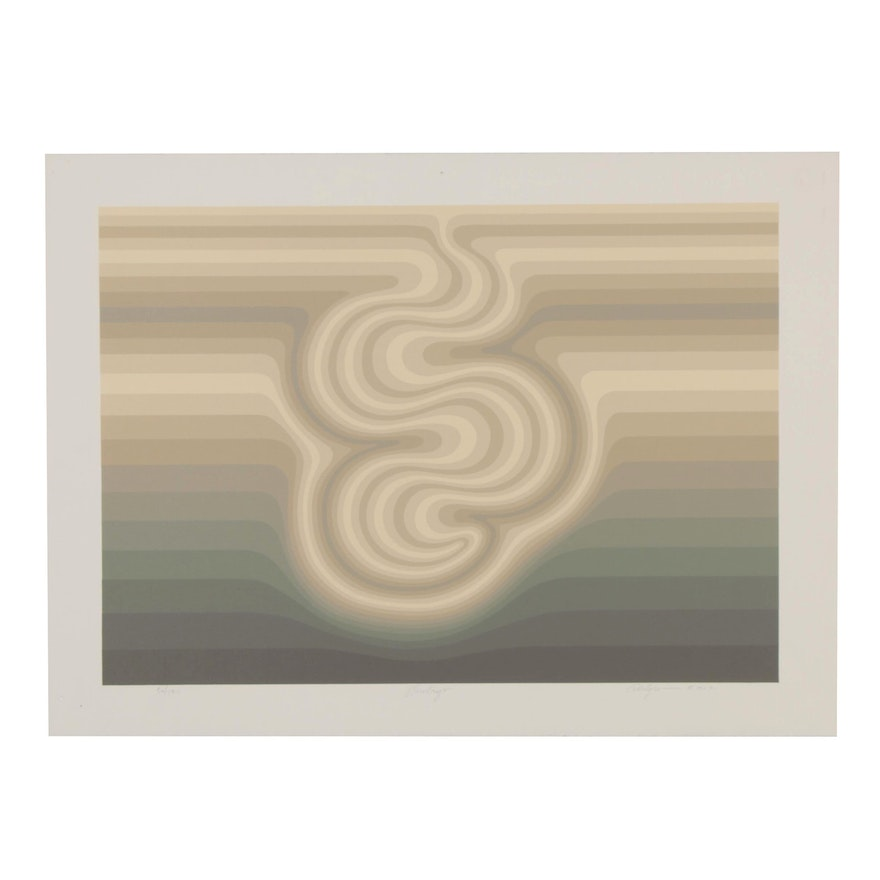 "Roy Ahlgren Op Art Serigraph ""Embryo,"" 1982"