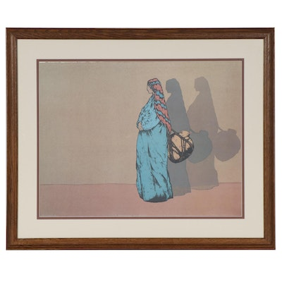 "Offset Lithograph after Amado M. Peña Jr. ""La Portadora Del Agua"""