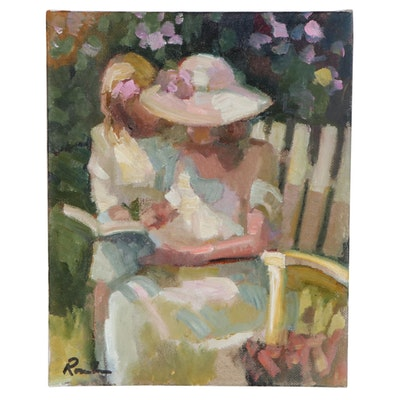 Sally Rosenbaum Oil Painting of Mother with Child, 21st Century