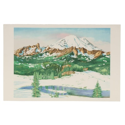 "William Roger Clark Color Lithograph ""Mt. Rainier,"" Late 20th Century"