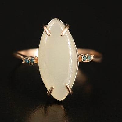 14K Opal and Diamond Navette Ring