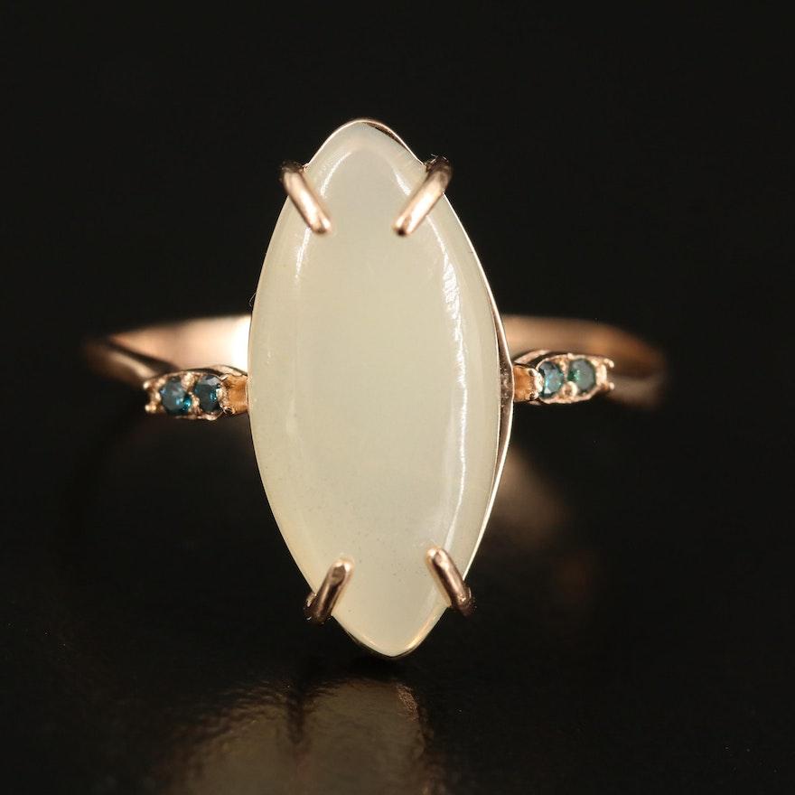 14K Opal and Diamond Navette Ring