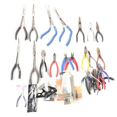 Pliers, Wire Cutters, Mechanics Square, Round Nose Pliers, and More