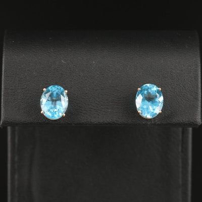 14K Oval Faceted Topaz Stud Earrings