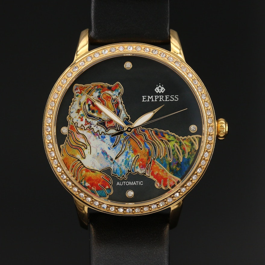 Empress Stainless Steel Automatic Wristwatch with Crystal Accents