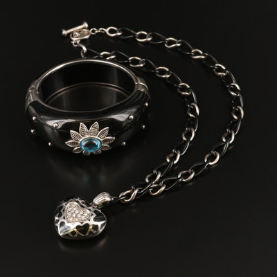 Angélique de Paris Sterling Diamond Heart Necklace and Topaz Bangle