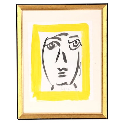 Peter Keil Abstract Watercolor Portrait, 1998