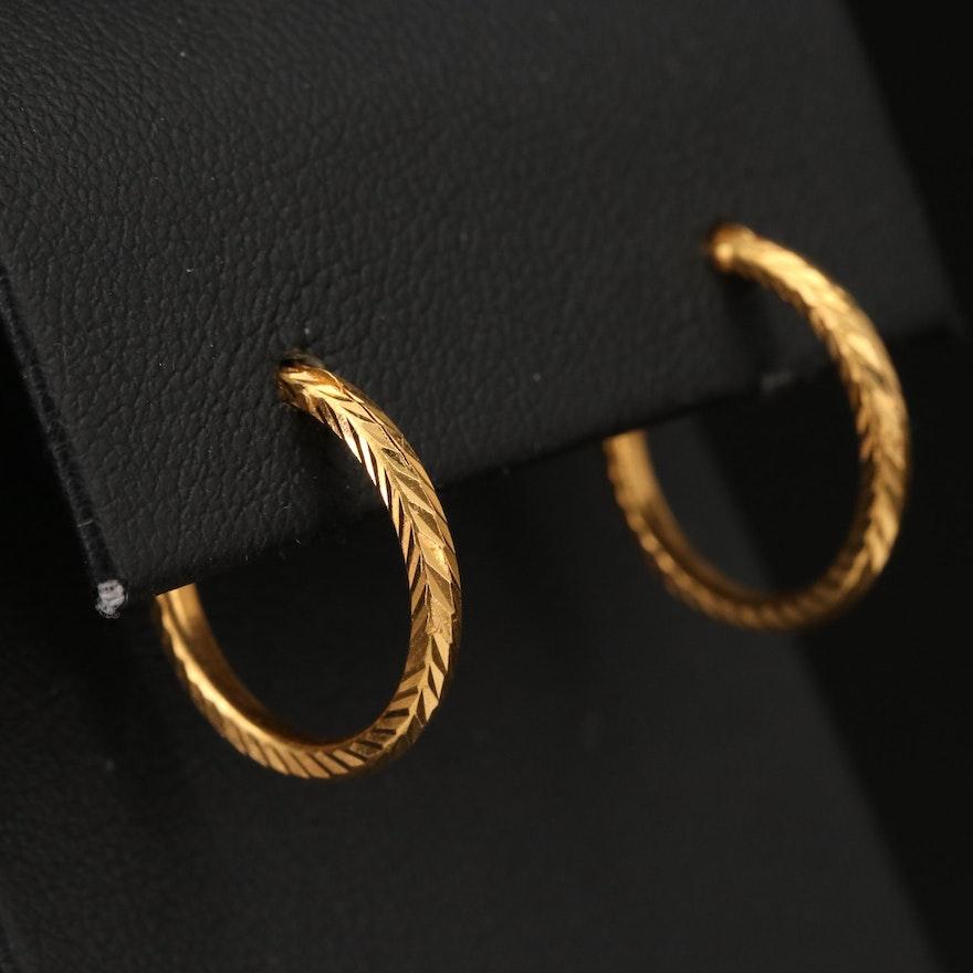 22K Textured Hoop Earrings