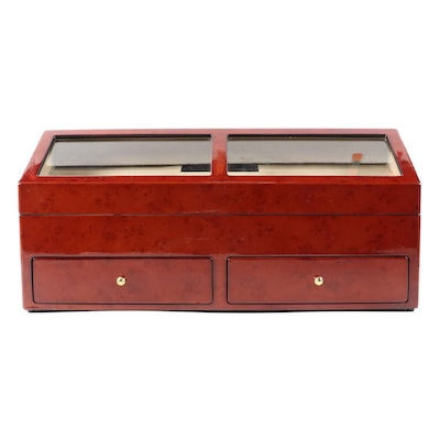 Rotations High Gloss Burl Eight Watch Winder Safe with Storage Drawer