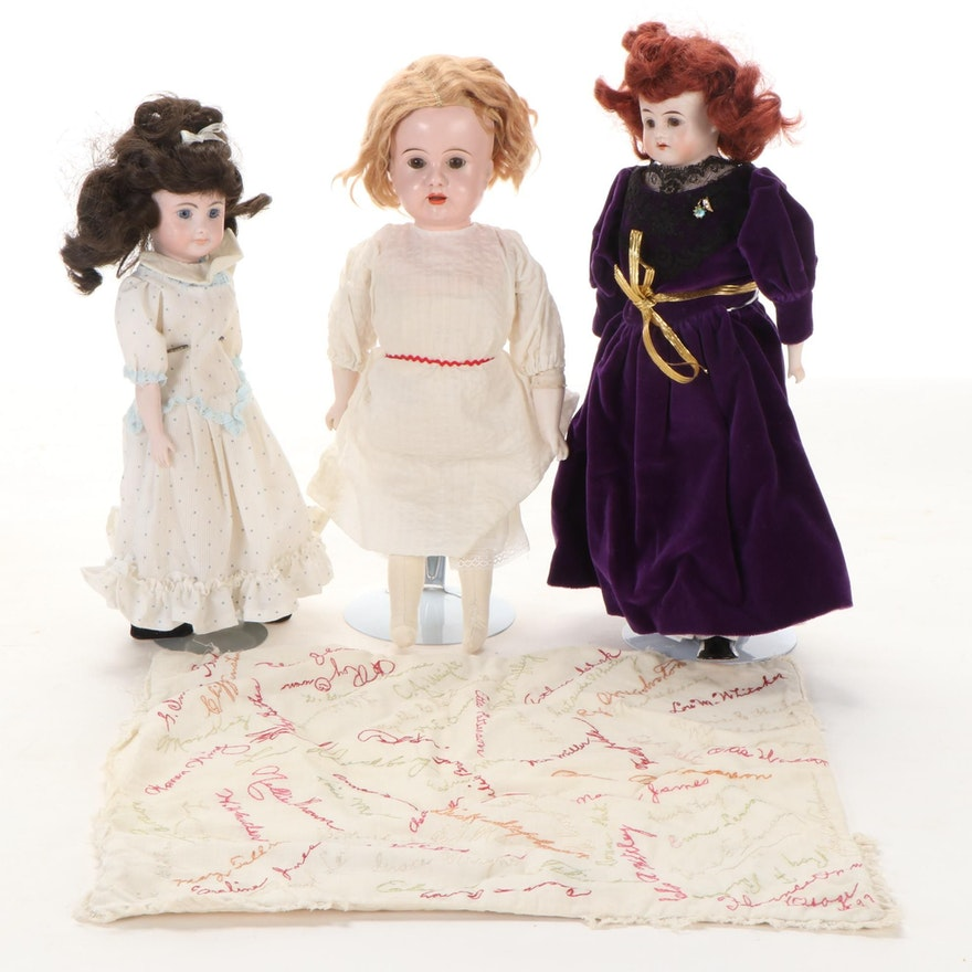 Hand-Painted Bisque and Tin Dolls with Cloth Bodies, Late 19th/Early 20th C.