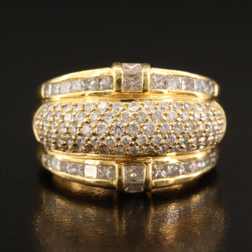 Vintage 18K Gold 2.48 CTW Diamond Triple Row Tapered Ring
