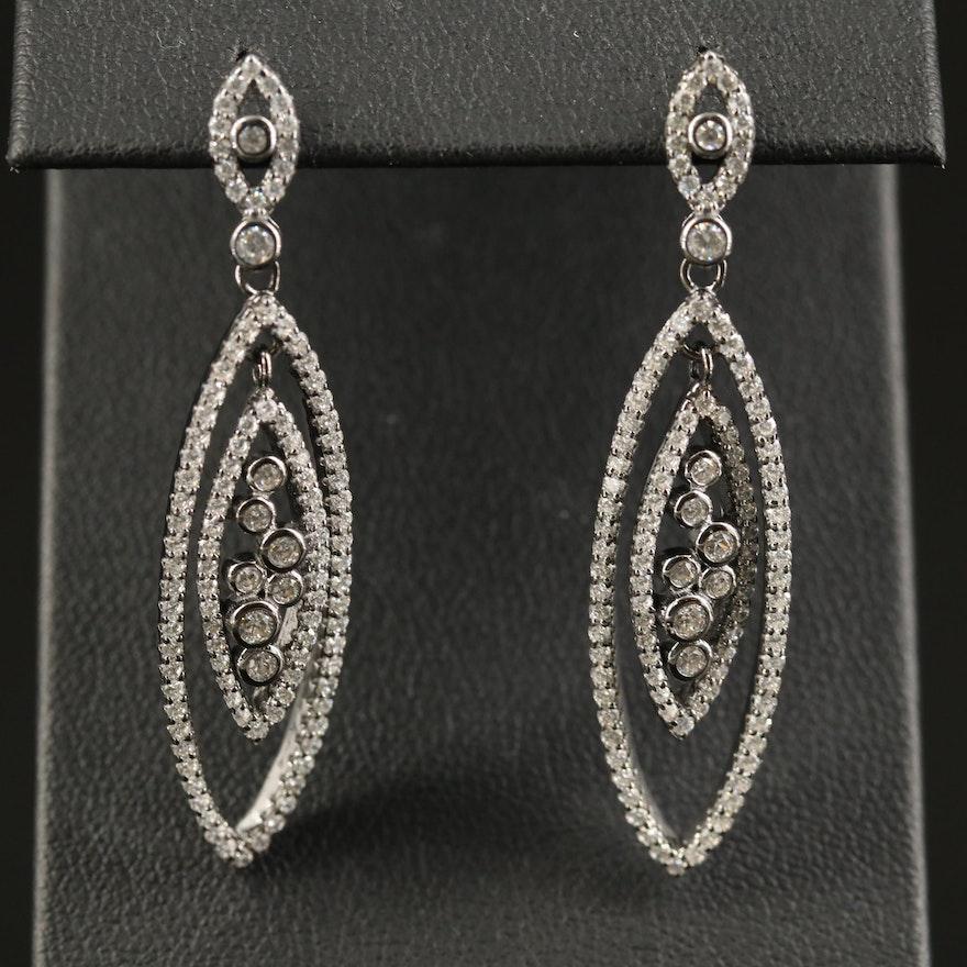 Sterling Silver Cubic Zirconia Navette Dangle Earrings