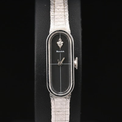1975 Bulova Dior Boutique Collection 10K Gold Plate and Diamond Wristwatch
