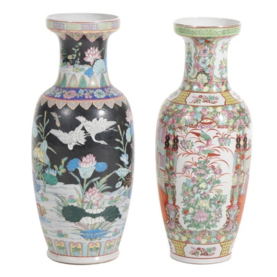 Rose Medallion and Famille Noir Style Vases, Late 20th Century