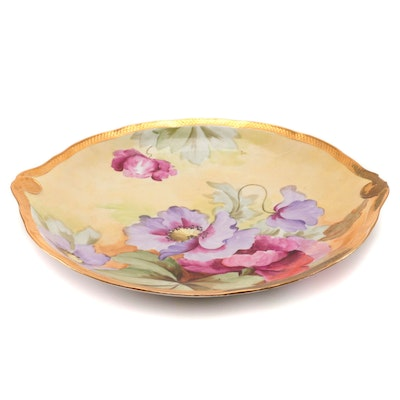 Floral Themed Hand-Painted Porcelain Decorative Plate, Mid-20th Century