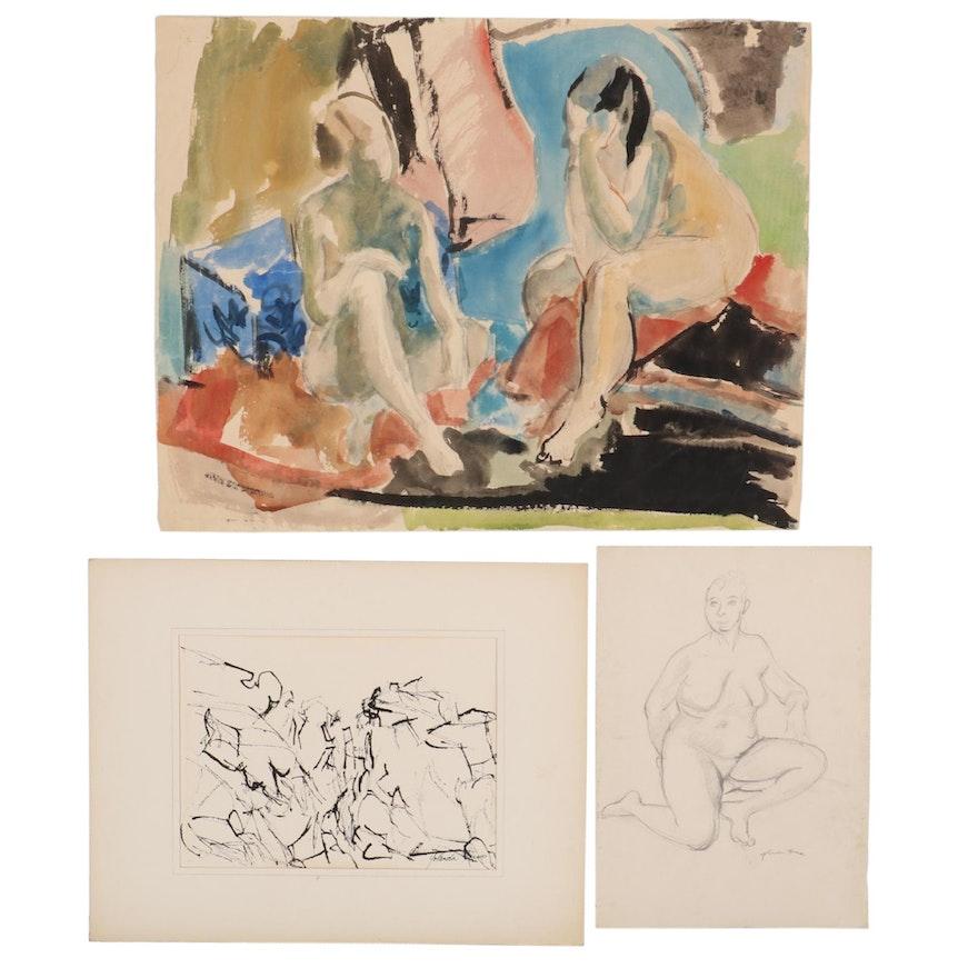 Yolanda Fusco Figurative Watercolor and Graphite Compositions, Mid-20th Century