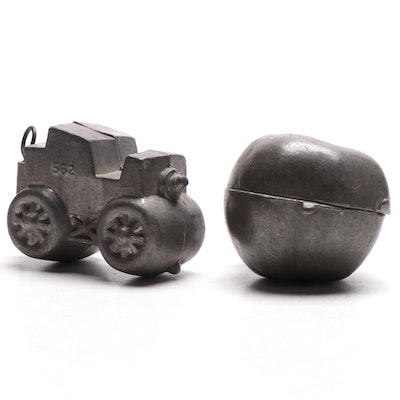Thomas Mills & Bro. Pewter Ice Cream Mold with Other Mold, Early 20th Century