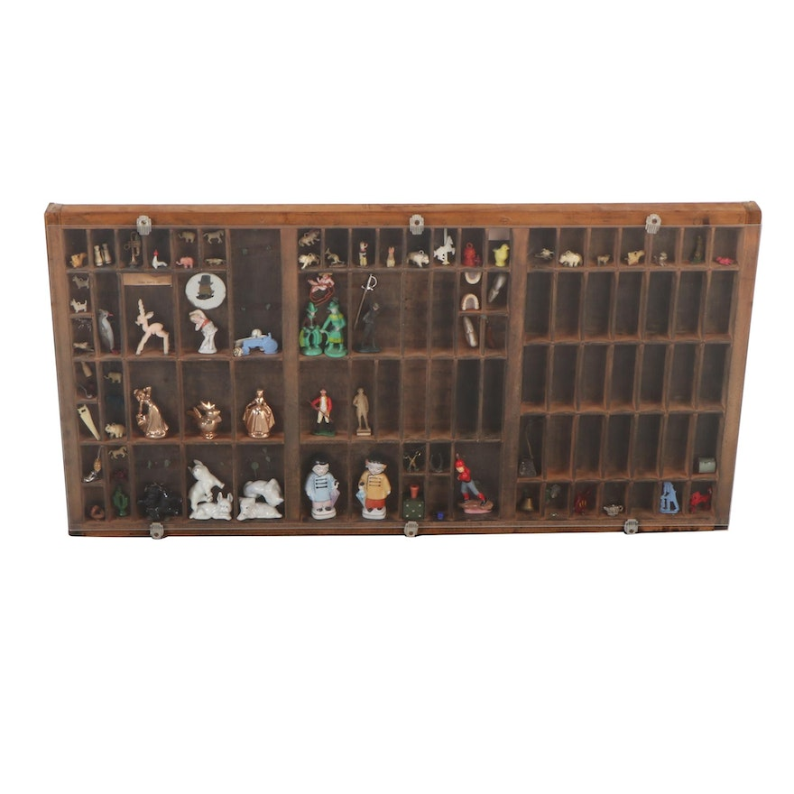 Hamilton Printer's Tray Filled with Miniature Figurines and Charms, 20th C.