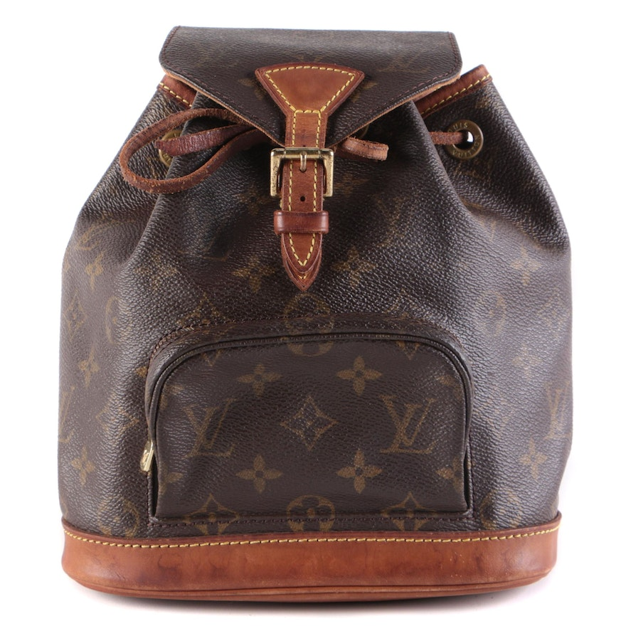 Louis Vuitton Montsouris PM Backpack Bag in Monogram Canvas with Leather Trim