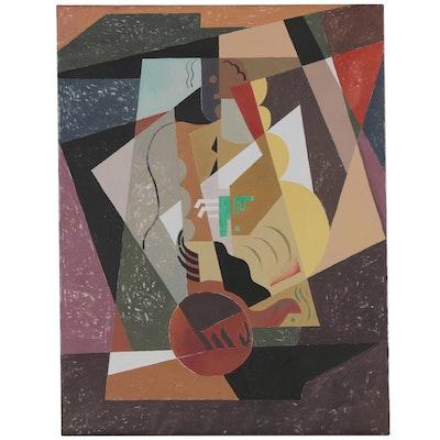 "Eduardo Oliva Cubist Acrylic Painting ""Musico/Cubista,"" 1969 - 1980"