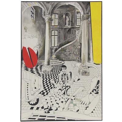 """Eduardo Oliva Monumental Surrealist Acrylic Painting """"El Palacio,"""" 1980"""
