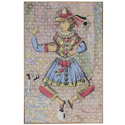 "Eduardo Oliva Monumental Mixed Media Painting ""Señora Arlequin Concada El Hilo"""