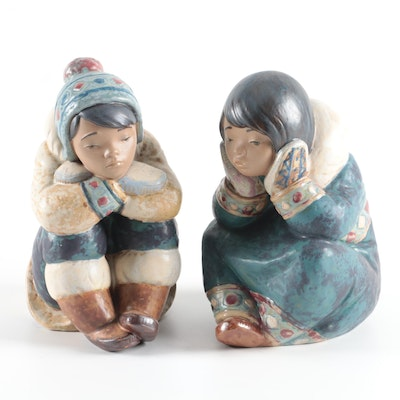 "Lladró Porcelain ""Pensive Eskimo Boy"" and  ""Pensive Eskimo Girl"""