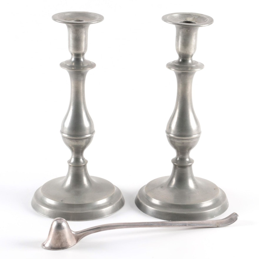 Pewter Baluster Candlesticks, 19th Century and Italian Snuffer