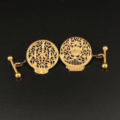 Openwork Toggle Cufflinks with Scroll and Floral Detailing
