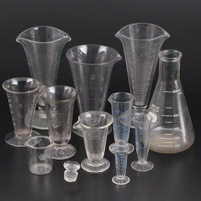 Pyrex Erlenmeyer Flask and Graduated Glass Laboratory Beakers, Mid-20th C.