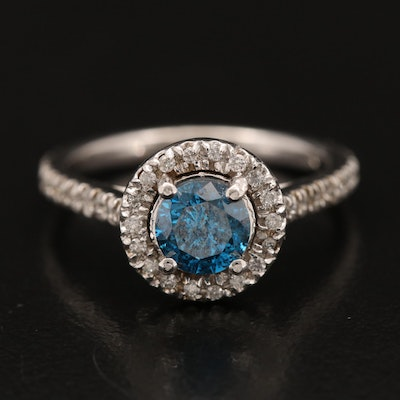 14K Blue Diamond Ring with Diamond Halo