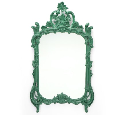 Rococo Style Green-Painted and Carved Wood Mirror, Mid to Late 20th Century