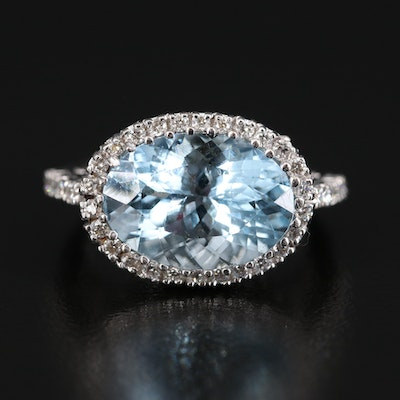 18K 6.76 CT Aquamarine and Diamond Halo Ring