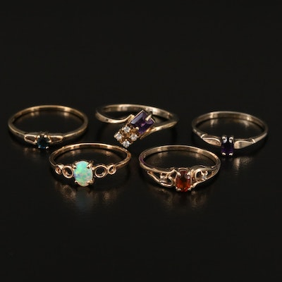 Sterling Silver Rings Featuring Amethyst, Opal and Cubic Zirconia