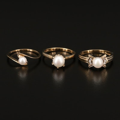Sterling Silver Pearl and Cubic Zirconia Rings
