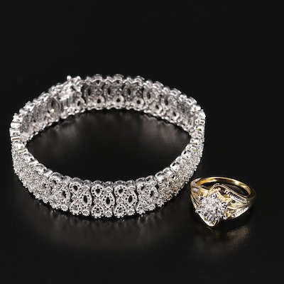 Diamond Cluster Ring and Bracelet