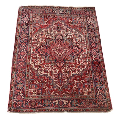 5'6 x 8'3 Hand-Knotted Persian Heriz Wool Area Rug