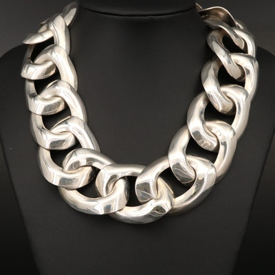 Vintage Taxco Talleres de Los Ballersteros Sterling Silver Chain Necklace