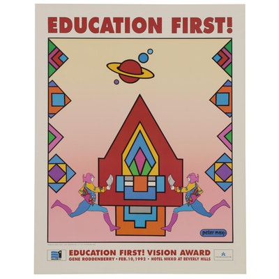 "Offset Lithograph Poster after Peter Max ""Education First!,"" 1992"