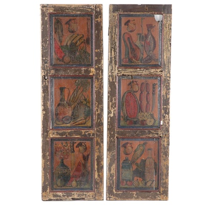 Architectural Salvage Paint-Decorated 3-Panel Doors, 20th Century