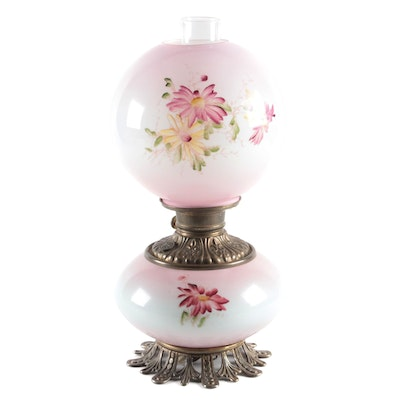 Hand-Painted Glass Victorian Parlor Lamp, 20th Century and Adapted